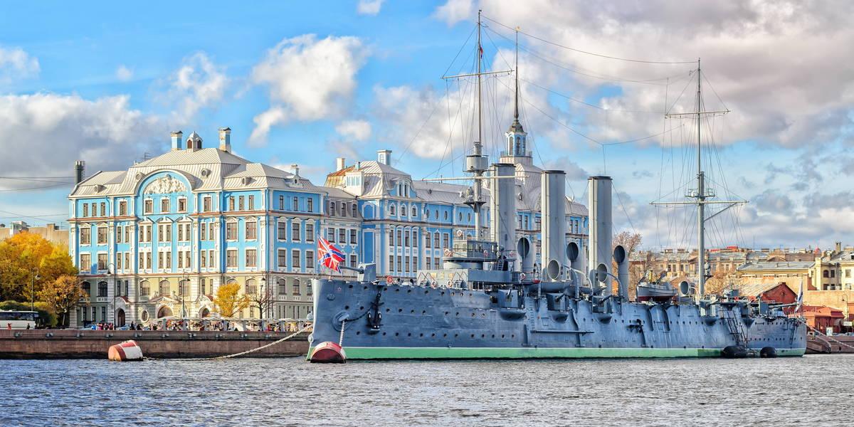 Stadsrondrit inclusief de Aurora pantserkruiser